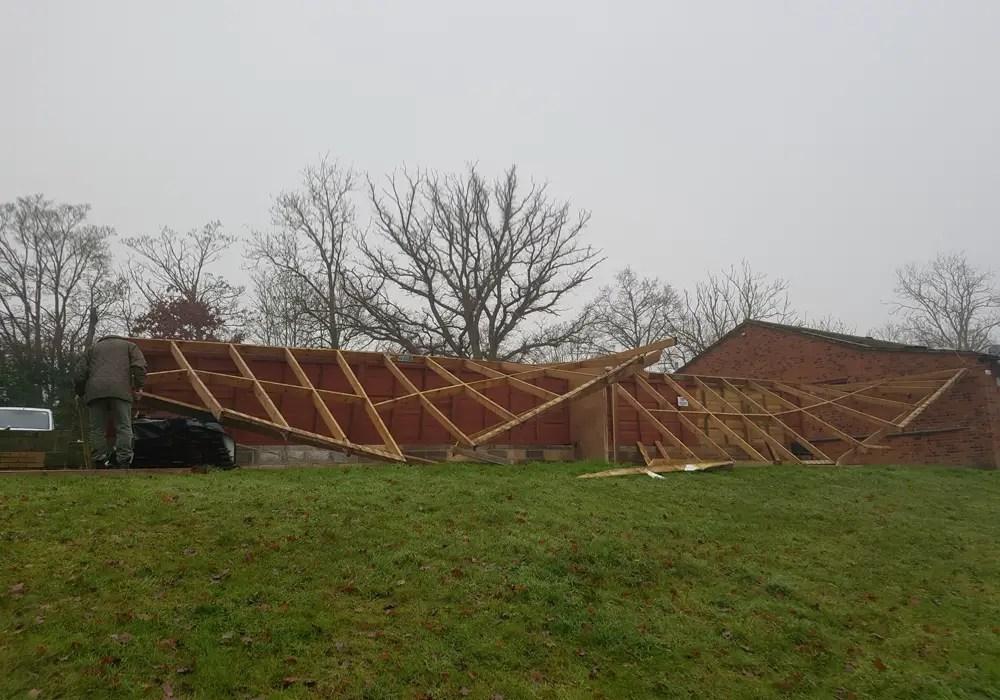 The shed end during dismantling. Photo: Ellis Woods.