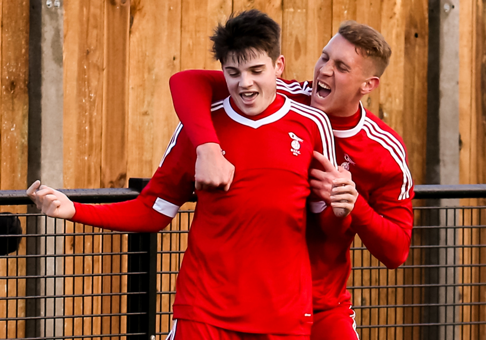 Seb Bowerman and TJ Bohane celebrate Bracknell Town's win over Tuffley Rovers. Photo: Neil Graham.