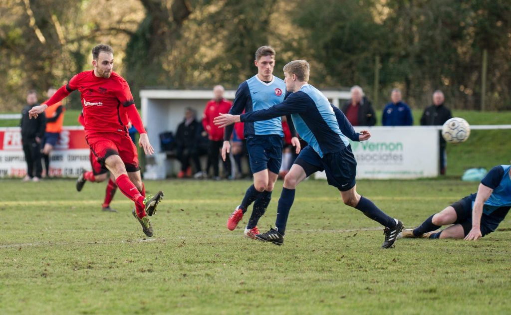 Liam Ferdinand scores for Binfield FC. Photo: Colin Byers.