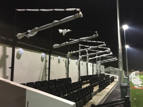 Roof ready to go on Bracknell Town FC's new Larges Lane stand