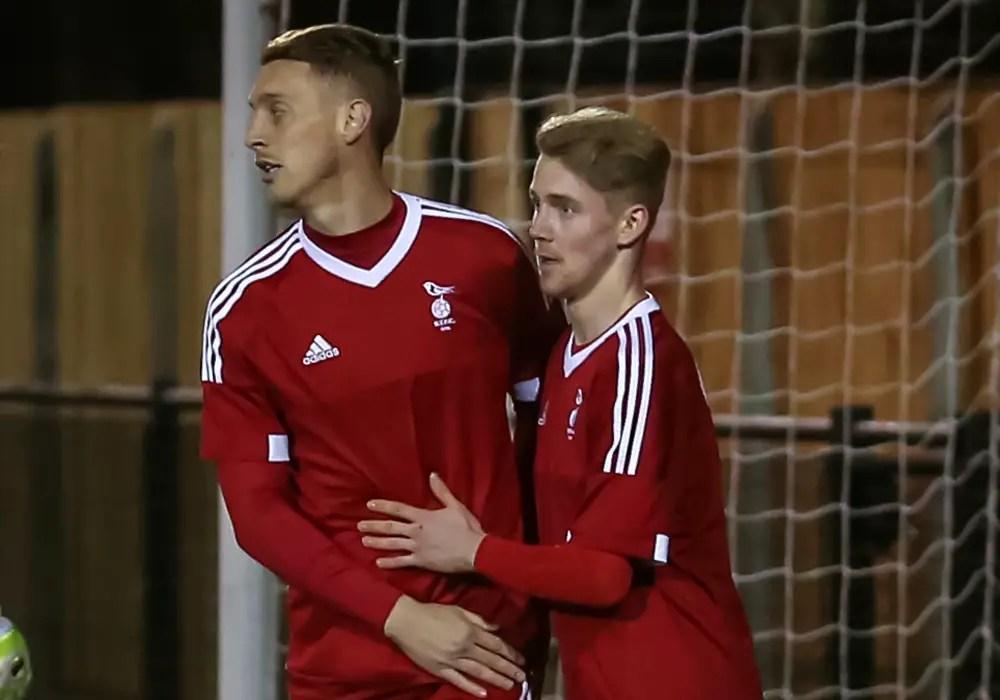 TJ Bohane and Dan Roberts of Bracknell Town FC. Photo: Neil Graham.