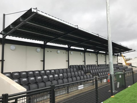 The roof is on at Larges Lane – Bracknell Town looking more like a football ground
