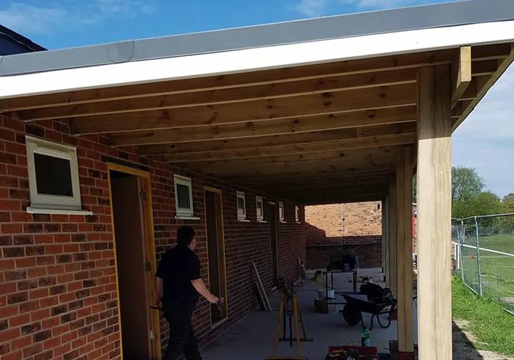 The roof is on at Binfield FC's new development. Photo: Glenn Duggleby.