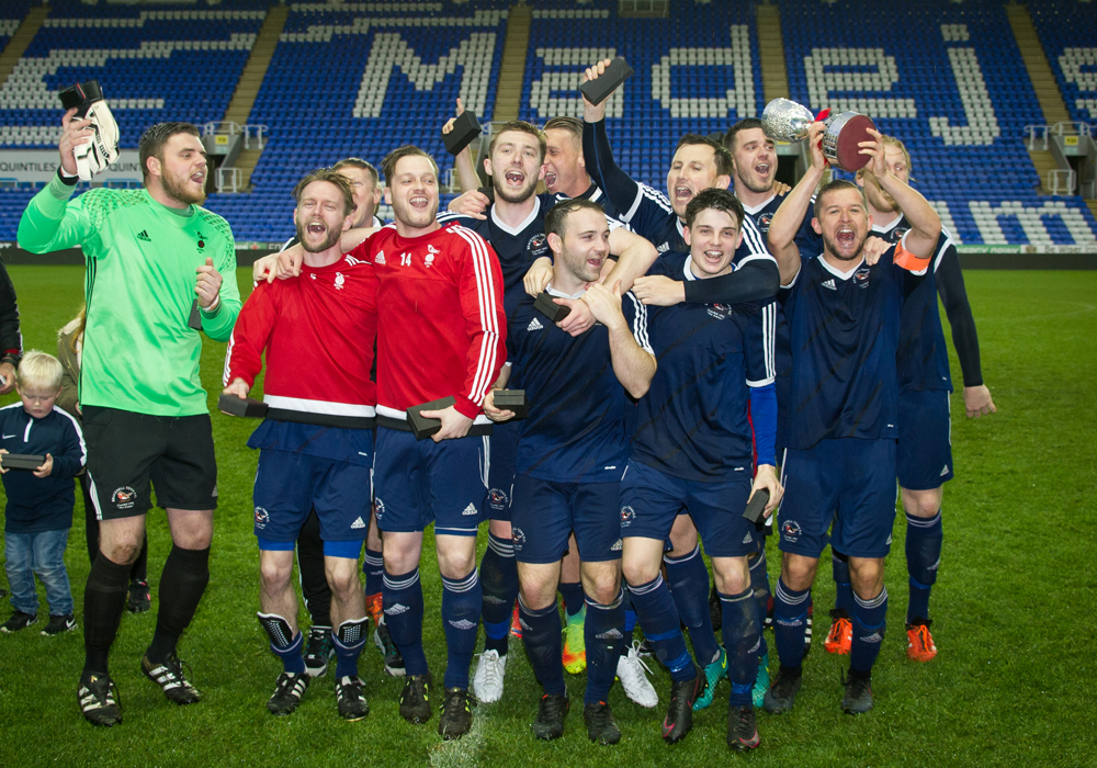 Bracknell Town lift the 2016/17 Reading Senior Cup. Photo: Colin Byers.