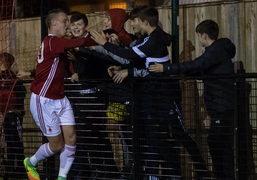 TJ Bohane celebrates his return with the Bracknell Town ultras