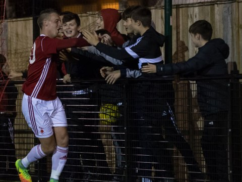 TJ Bohane celebrates his return with the Bracknell Town ultras