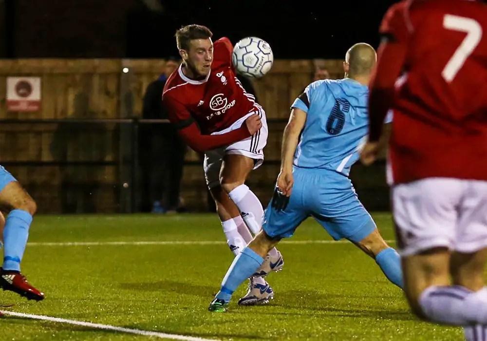 TJ Bohane scores against Slough Town. Photo: Neil Graham.