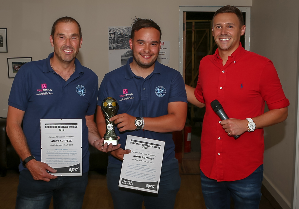 Marc Surtees and Nuno Antunes collect their award for manager of the season. Photo: Neil Graham