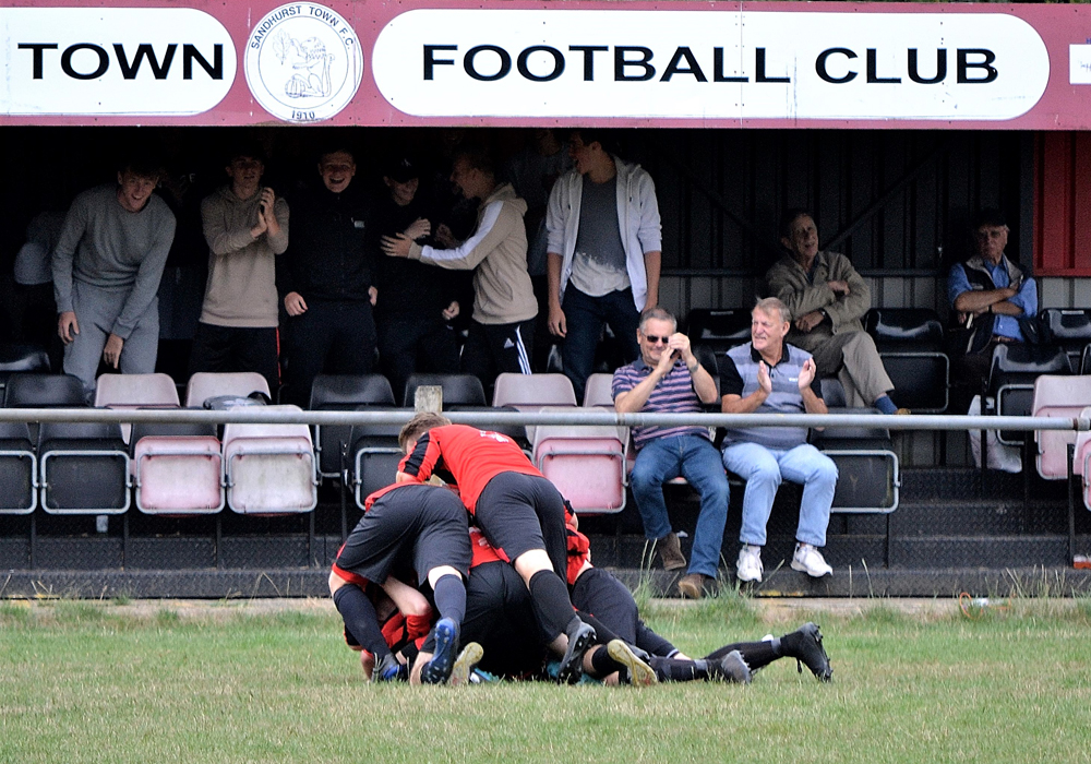 Sandhurst Town celebrate in the FA Cup. Photo: Andy Ormerod.