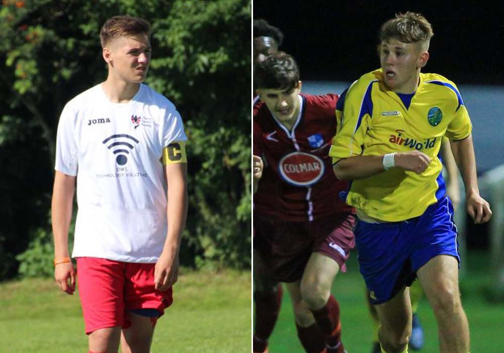 Adam Forder and James Richardson in trials for England Schoolboys