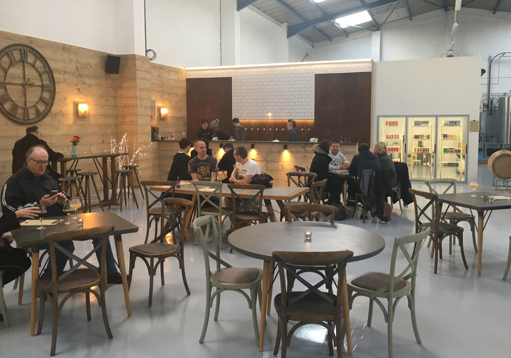 Inside the Double Barrelled Brewery tap room.