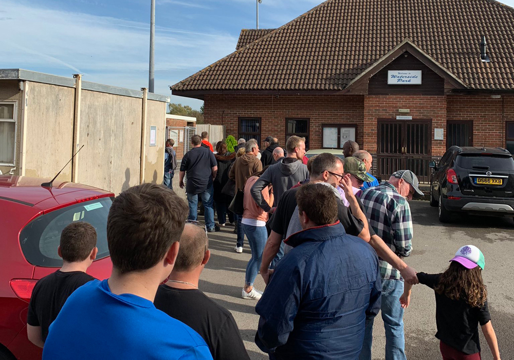Queuing at Thatcham Town. Photo: Matthew Smith.