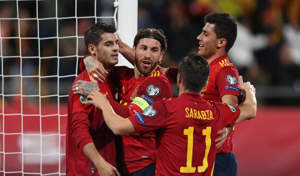 युरो कप छनौट : स्पेनको फराकिलो जितमा सात खेलाडीको गोल