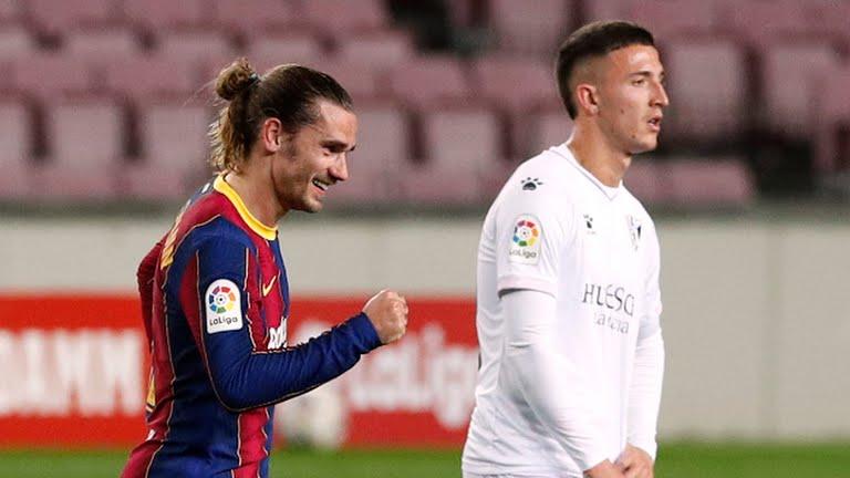 बार्सिलोना भर्सेस हुएस्का : पहिलो हाफमा बार्सिलोना २–१ ले अघि