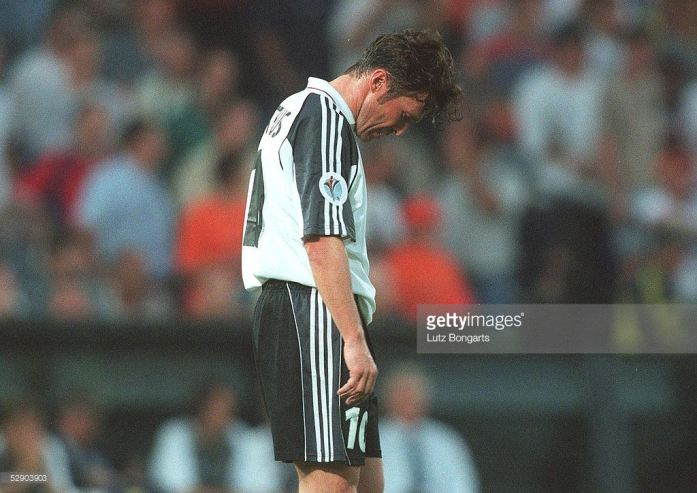 A dejected Lothat Mattheus after Germany lost 3-0 to Portugal at Euro 2000