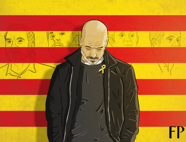 Guardiola wears a symbol of the right vote.