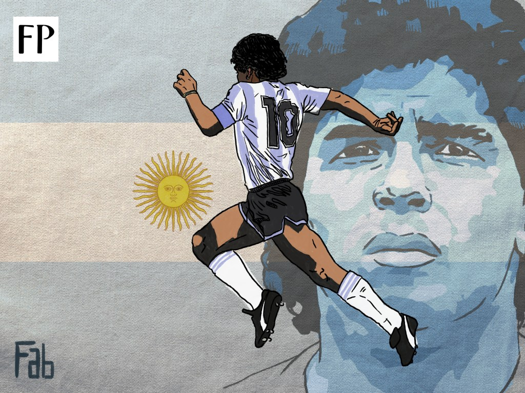 There has rarely been a more political figure for a nation's football ecosystem than Diego Maradona for Argentina. (Art by Fabrizio Birimbelli)
