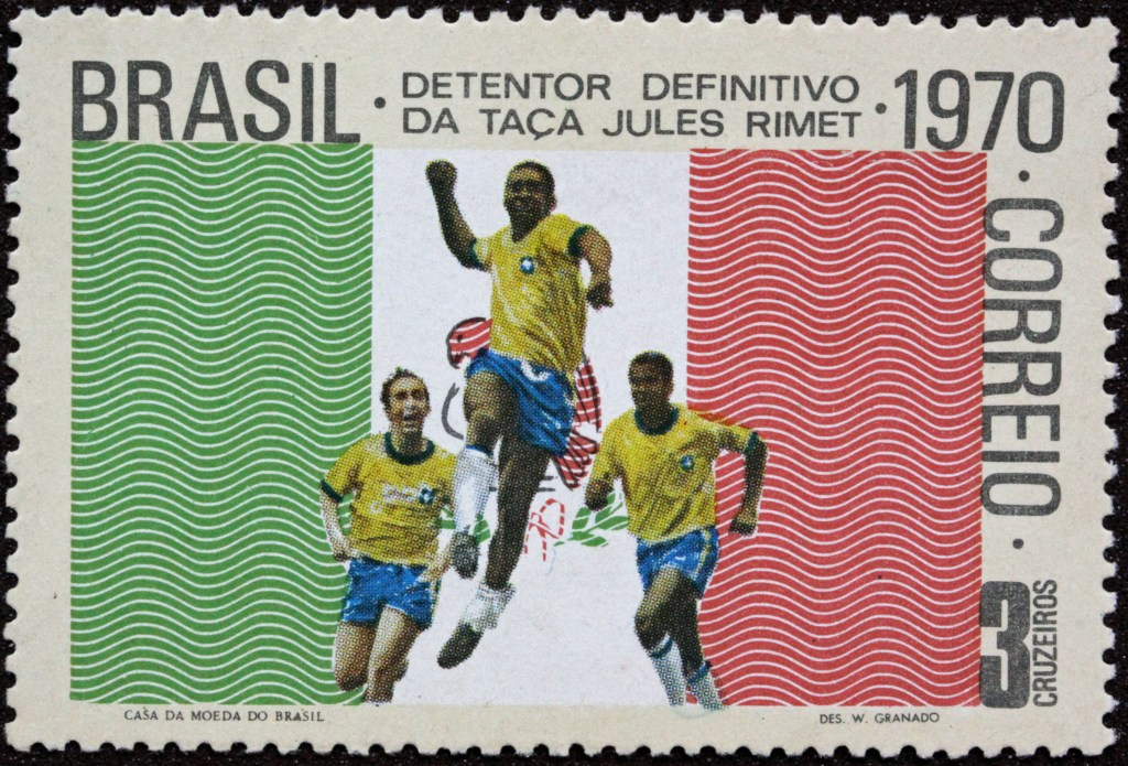A 1970 World Cup Commemorative Stamp featuring Brazil.
