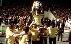 Lifting FA Cup trophy at Wembley on May 8, 1971