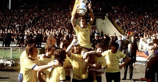 Lifting FA Cup trophy at Wembley on May 8, 1971