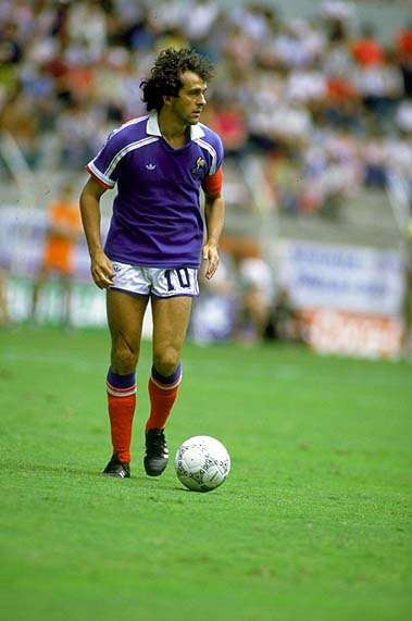 25 Jun 1986: Michel Platini of France in action during the World Cup match against West Germany at the Jalisco Stadium in Guadalajara, Mexico. West Germany won the match 2-0. Mandatory Credit: David Cannon/Allsport