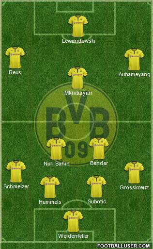 Borussia Dortmund 4-3-2-1 football formation