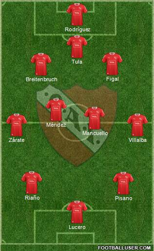 Independiente 4-5-1 football formation