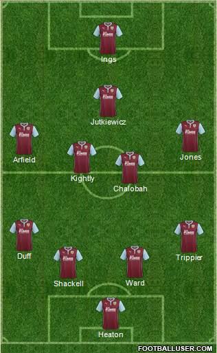 Burnley 4-4-1-1 football formation