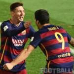 Lionel Messi with Luis Suarez