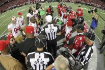 Referee Terry McAulay and back judge Tony Steratore before the coin toss (San Francisco 49ers photo)