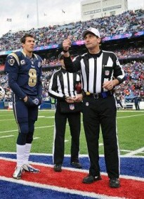 Gene Steratore conducts the coin flip at the Rams-Bills game in Buffalo. (St. Louis Rams photo)