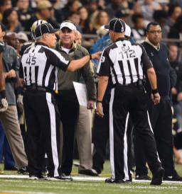 Line judge Jeff Seeman and back judge Tony Steratore (New Orleans Saints)