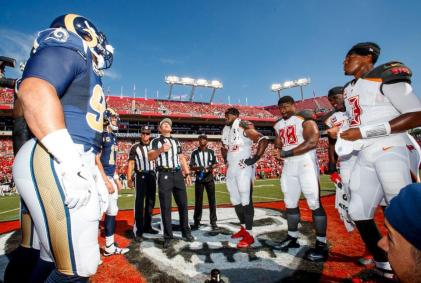 Hochuli tosses the coin (Tampa Bay Buccaneers)