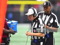 ATLANTA, GA - SEPTEMBER 23: Referee Walt Anderson checks replays during overtime of the game between the New Orleans Saints and the Atlanta Falcons at Mercedes-Benz Stadium on September 23, 2018 in Atlanta, Georgia. (Photo by Scott Cunningham/Getty Images)