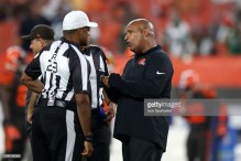 CLEVELAND, OH - SEPTEMBER 20: Cleveland Browns head coach Hue Jackson talks to referee Jerome Boger (23) prior to the National Football League game between the New York Jets and Cleveland Browns on September 20, 2018, at FirstEnergy Stadium in Cleveland, OH. Cleveland defeated New York 21-17. (Photo by Frank Jansky/Icon Sportswire via Getty Images)