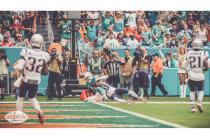 Jeff Seeman make a call at the pylon (Miami Dolphins)