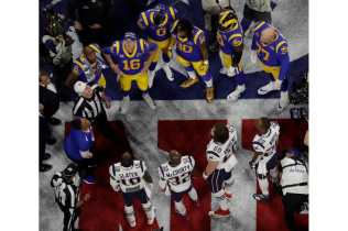 Referee John Parry conducts the Super Bowl LIII coin toss (New England Patriots)