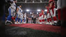 Scott Novak conducts his first regular season coin toss as a NFL referee. (Arizona Cardinals)