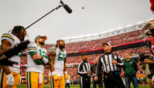 John Hussey tosses the coin (Green Bay Packers)