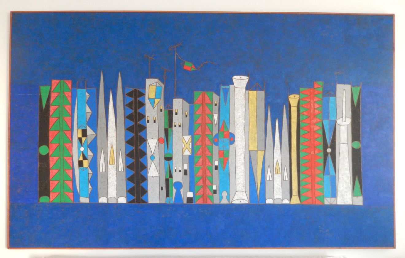 Francisco Galeno painting of skyscrapers from a private collection