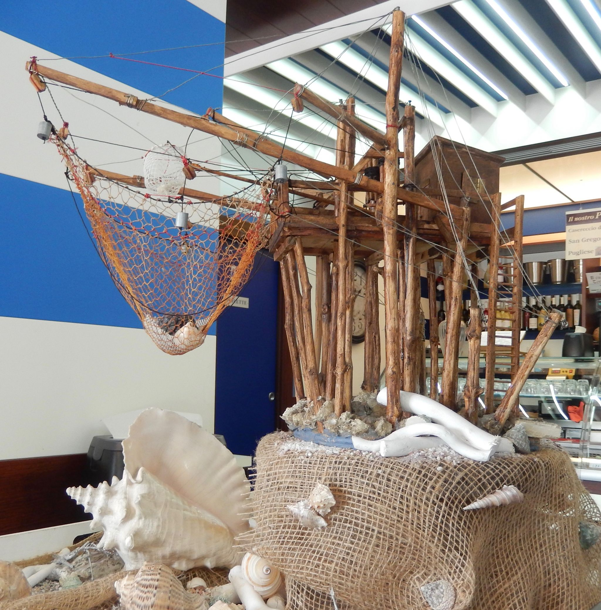 Traditional fishing structure in Abruzzo called a Trobacchi