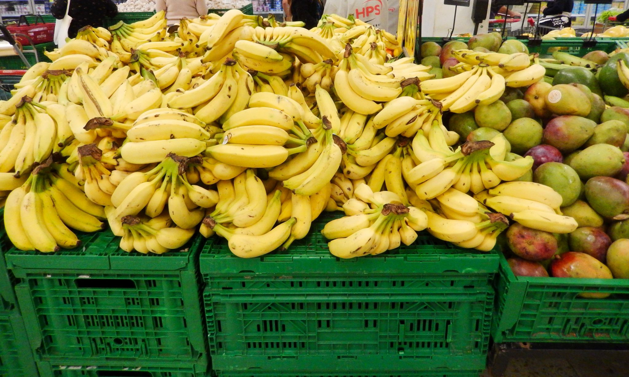 Bananas and mangos in supermarket