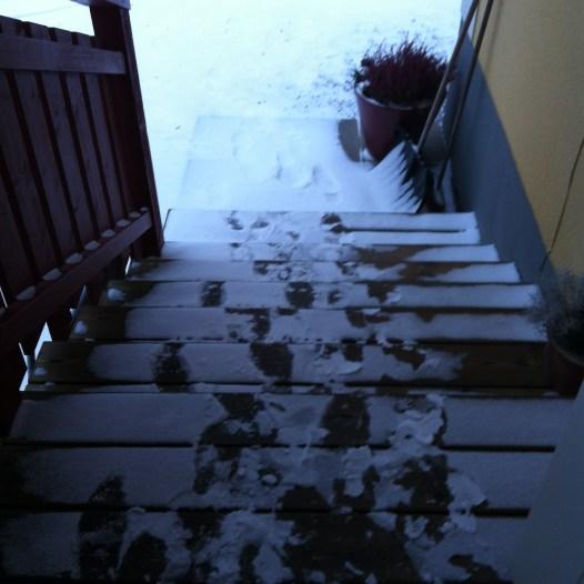 Snöat på min #kaffetrapp