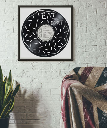 une deco avec des disques vinyles pour