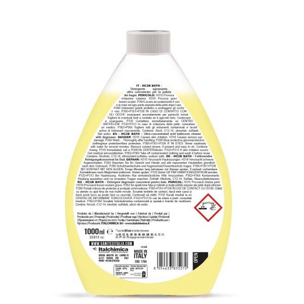 detergente per la pulizia del bagno liquido ultra concentrato da diluire in acqua in flacone da 1000 ml HC2B bath codice 1704