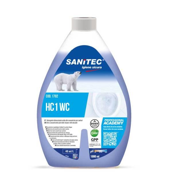 detergente disincrostante che elimina il calcare liquido per wc super concentrato da diluire in acqua in flacone da 1000 ml HC1 wc codice 1702