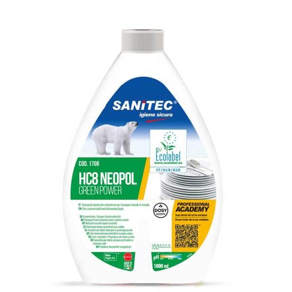 detergente lavapiatti a mano ecologico ultra concentrato in flacone da 1000 ml HC8 neopol greenpower codice 1708