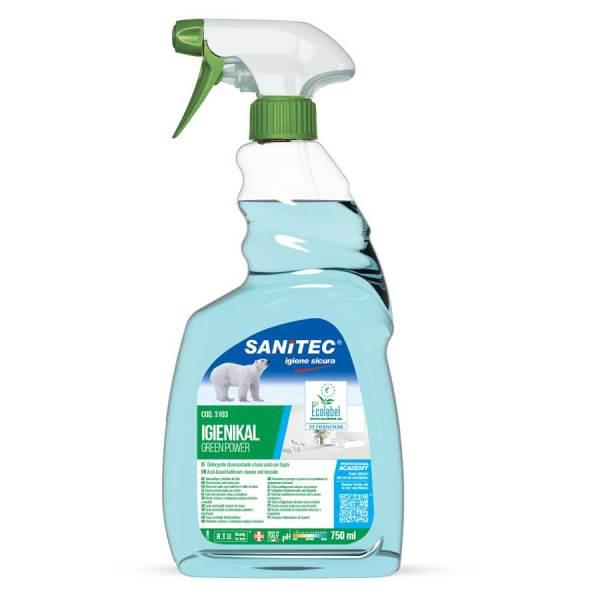 sanitec detergente anticalcare profumato ecologico e h.a.c.c.p. in trigger spray da 750 ml igienikal green power codice 3103