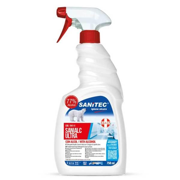 sanitec detergente igienizzante universale alcolico h.a.c.c.p. per pascherine tessuti naturali e sintetici per filtri e condotti di ventilazione in trigger spray da 750 ml sanialc ultra codice 1841-S