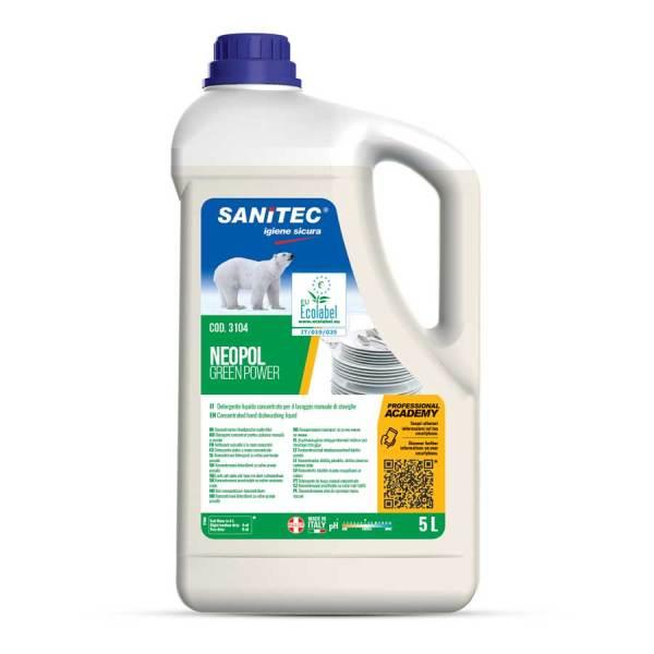 sanitec-detersivo-piatti-a mano-ecologico-non profumato-h.a.c.c.p.-tanica-5lt-neopol green power-3104